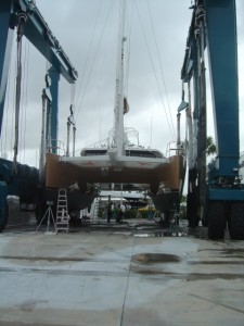 53' Custom Catamaran about to be Accurately Weighed