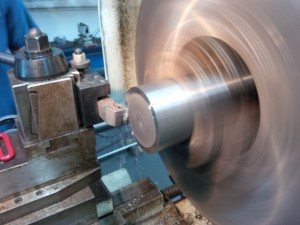 Machining new shaft in Straight Line Marine Shop