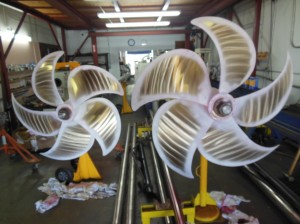 Propellers before red dye testing